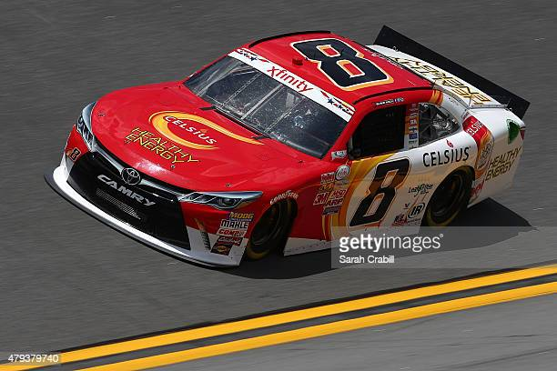 Blake Koch driver of the Celsius Healthy Energy Cola Toyota practices for the NASCAR XFINITY Series Subway Firecracker 250 at Daytona International...