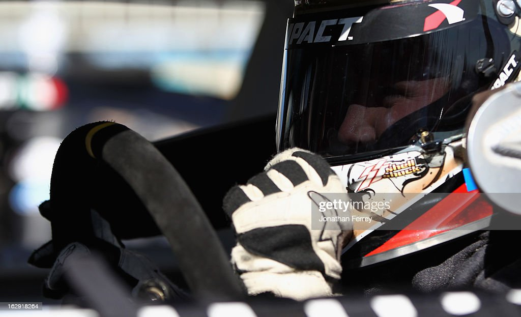 Blake Koch, driver of the #24 I Am Second/Salt Life Toyota, sits in his car during practice for the NASCAR Nationwide Series Dollar General 200 fueled by AmeriGas at Phoenix International Raceway on March 1, 2013 in Avondale, Arizona.