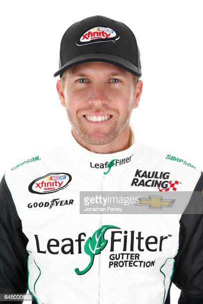 Blake Koch driver of the LeafFilter Gutter Protection Chevrolet poses for a portrait at Daytona International Speedway on February 24 2017 in Daytona...