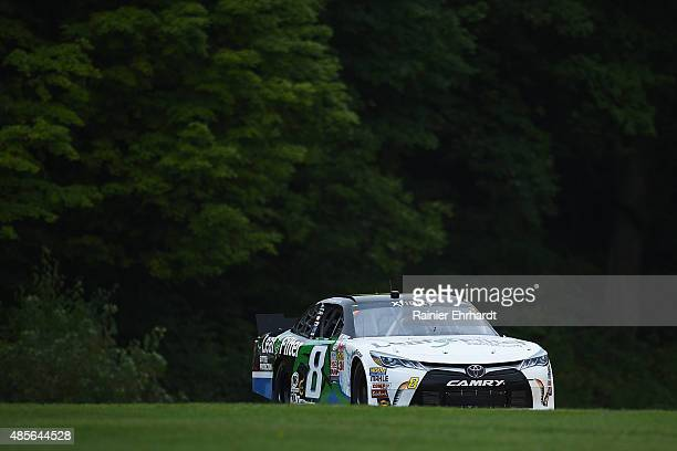 Blake Koch driver of the LeafFilter Gutter Protection Toyota drives during NASCAR XFINITY Series practice at Road America on August 28 2015 in...