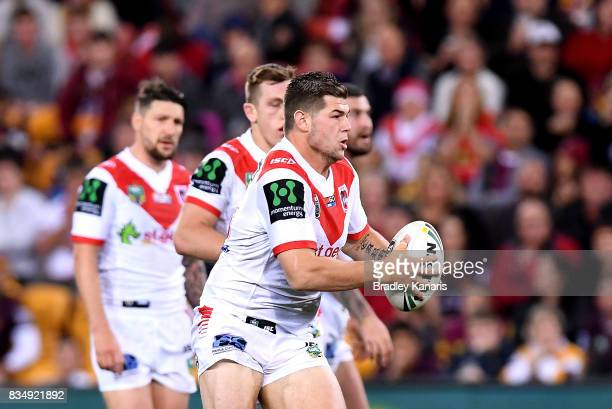 Blake Lawrie of the Dragons runs with the ball during the round 24 NRL match between the Brisbane Broncos and the St George Illawarra Dragons at...