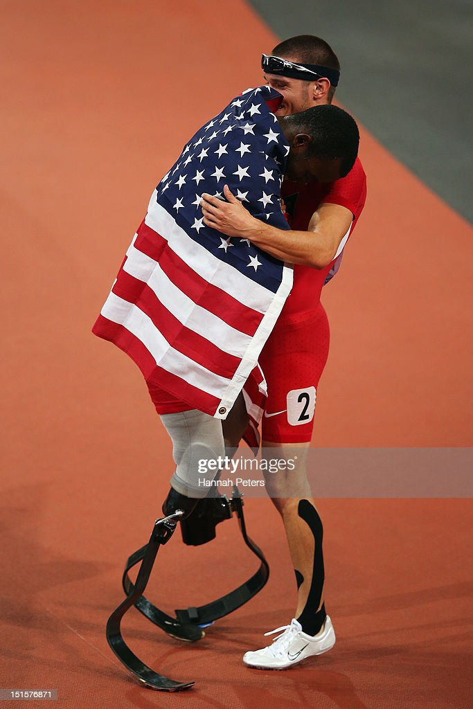 <a gi-track='captionPersonalityLinkClicked' href=/galleries/search?phrase=Blake+Leeper&family=editorial&specificpeople=7449993 ng-click='$event.stopPropagation()'>Blake Leeper</a> of the United States celebrates with Jarryd Wallace of the United States after winning silver in the Men's 400m T44 Final on day 10 of the London 2012 Paralympic Games at Olympic Stadium on September 8, 2012 in London, England.