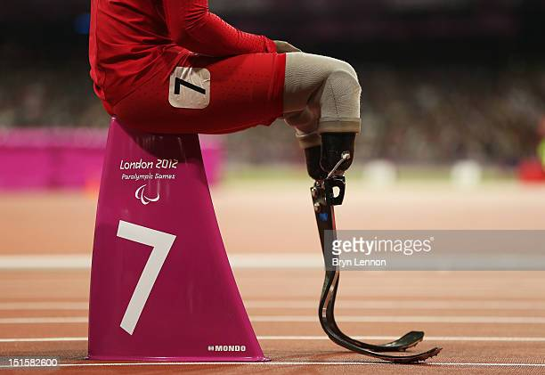 Blake Leeper of the United States looks on prior to the Men's 400m T44 Final on day 10 of the London 2012 Paralympic Games at Olympic Stadium on...