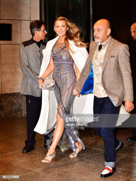 Blake Lively and Christian Louboutin leave Four Seasons Hotel New York on October 16 2017 in New York City