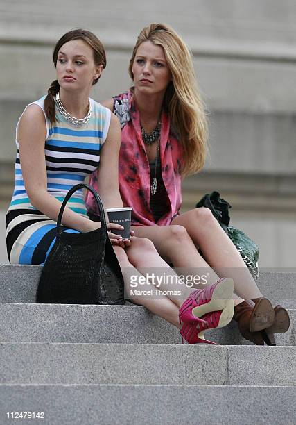 Blake Lively and Leighton Meester are seen on the set of the TV show 'Gossip Girls' on location in Manhattan on July 13 2009 in New York City
