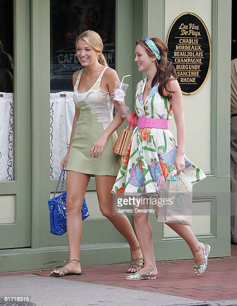 Blake Lively and Leighton Meester on location for 'Gossip Girl' on June 25 2008 in Port Washington New York