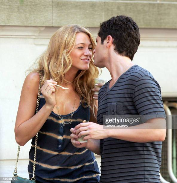 Blake Lively and Penn Badgley on location for 'Gossip Girl' on the streets of Manhattan on July 15 2008 in New York City