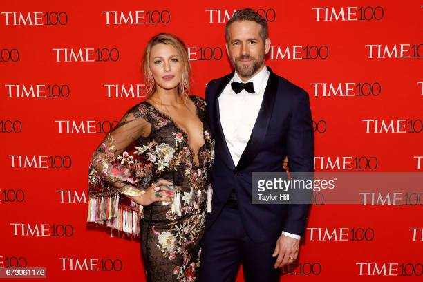 Blake Lively and Ryan Reynolds attend the 2017 Time 100 Gala at Jazz at Lincoln Center on April 25 2017 in New York City