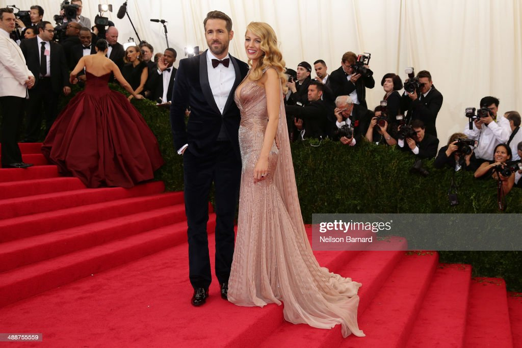 Blake Lively and Ryan Reynolds attend the 'Charles James: Beyond Fashion' Costume Institute Gala at the Metropolitan Museum of Art on May 5, 2014 in New York City.