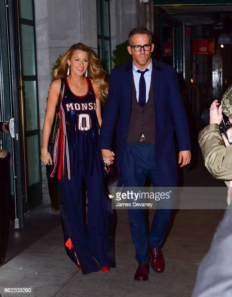 Blake Lively and Ryan Reynolds leave The Whitby Hotel on October 16 2017 in New York City