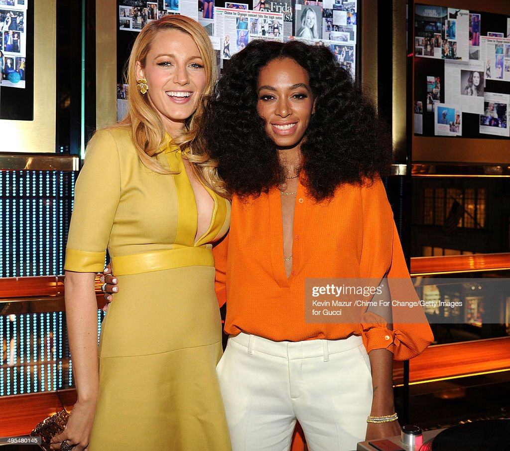Blake Lively and Solange attend the CHIME FOR CHANGE One-Year Anniversary Event hosted by Gucci Creative Director Frida Giannini and T Magazine Editor-In-Chief Deborah Needleman at Gucci Fifth Avenue on June 3, 2014 in New York City.