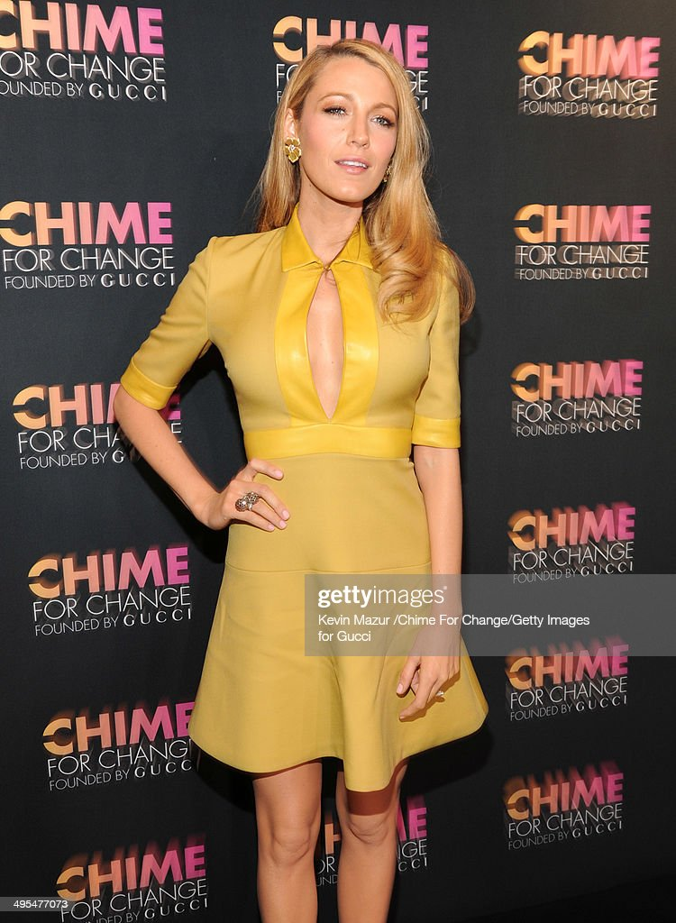 <a gi-track='captionPersonalityLinkClicked' href=/galleries/search?phrase=Blake+Lively&family=editorial&specificpeople=221673 ng-click='$event.stopPropagation()'>Blake Lively</a> attends the CHIME FOR CHANGE One-Year Anniversary Event hosted by Gucci Creative Director Frida Giannini and T Magazine Editor-In-Chief Deborah Needleman at Gucci Fifth Avenue on June 3, 2014 in New York City.