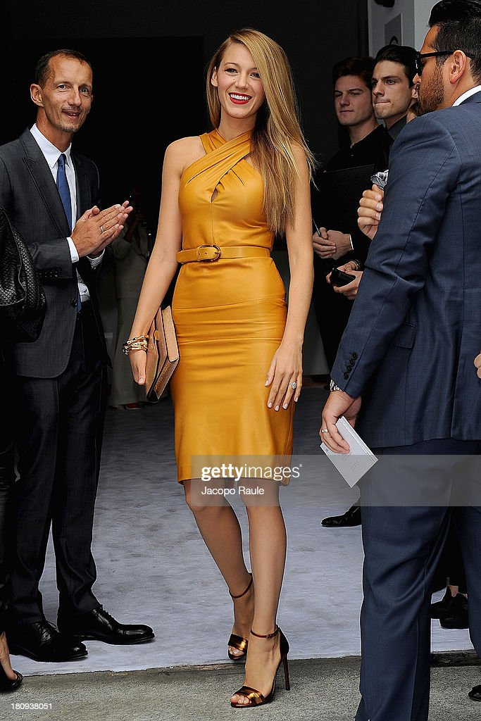<a gi-track='captionPersonalityLinkClicked' href=/galleries/search?phrase=Blake+Lively&family=editorial&specificpeople=221673 ng-click='$event.stopPropagation()'>Blake Lively</a> attends the Gucci show as a part of Milan Fashion Week Womenswear Spring/Summer 2014 on September 18, 2013 in Milan, Italy.
