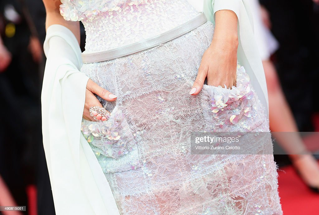 Blake Lively (dress detail) attends the 'Mr Turner' premiere during the 67th Annual Cannes Film Festival on May 15, 2014 in Cannes, France.