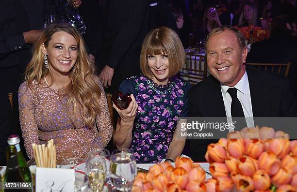 Blake Lively EditorinChief of American Vogue Anna Wintour and Michael Kors attend God's Love We Deliver Golden Heart Awards on October 16 2014 in New...