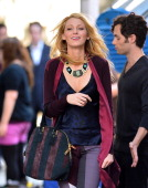Blake Lively filming on location for 'Gossip Girl' on August 28 2012 in New York City