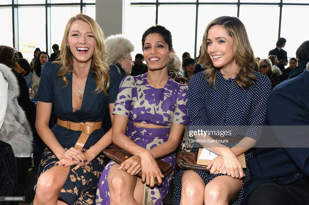 <a gi-track='captionPersonalityLinkClicked' href=/galleries/search?phrase=Blake+Lively&family=editorial&specificpeople=221673 ng-click='$event.stopPropagation()'>Blake Lively</a>, <a gi-track='captionPersonalityLinkClicked' href=/galleries/search?phrase=Freida+Pinto&family=editorial&specificpeople=5518973 ng-click='$event.stopPropagation()'>Freida Pinto</a> and Rose Bryne attend the Michael Kors fashion show during Mercedes-Benz Fashion Week Fall 2014 at Spring Studios on February 12, 2014 in New York City.