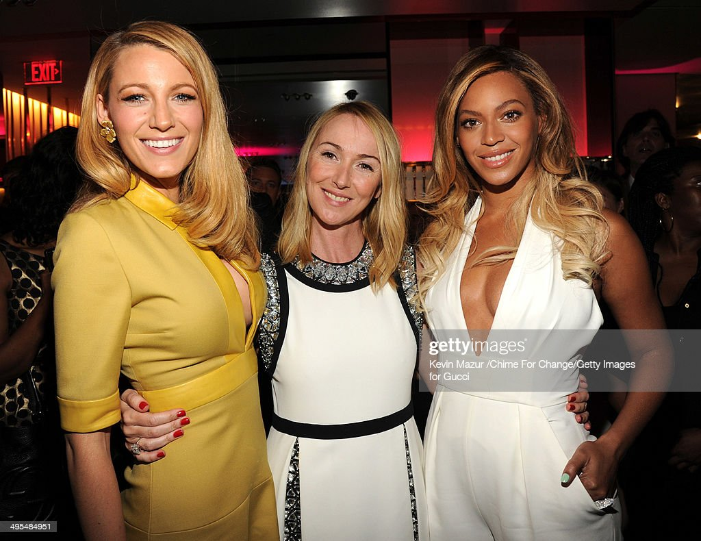 Blake Lively, Gucci Creative Director Frida Giannini and Beyonce attend the CHIME FOR CHANGE One-Year Anniversary Event hosted by Gucci Creative Director Frida Giannini and T Magazine Editor-In-Chief Deborah Needleman at Gucci Fifth Avenue on June 3, 2014 in New York City.