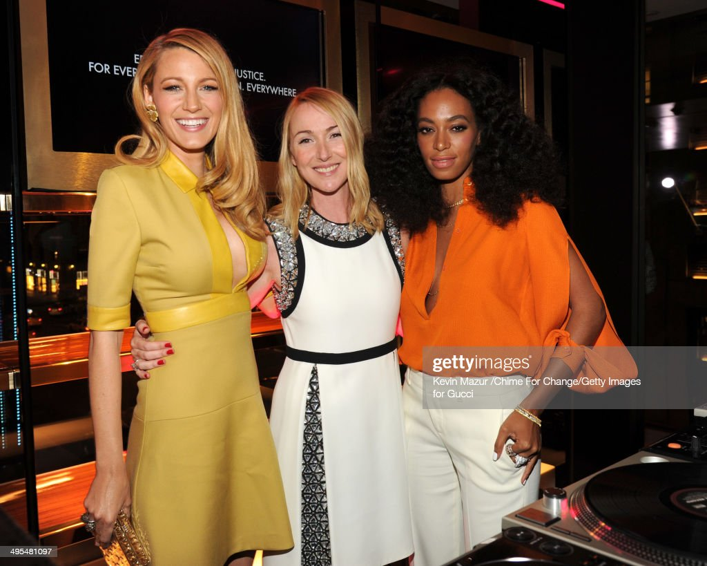 Blake Lively, Gucci Creative Director Frida Giannini and Solange attend the CHIME FOR CHANGE One-Year Anniversary Event hosted by Gucci Creative Director Frida Giannini and T Magazine Editor-In-Chief Deborah Needleman at Gucci Fifth Avenue on June 3, 2014 in New York City.