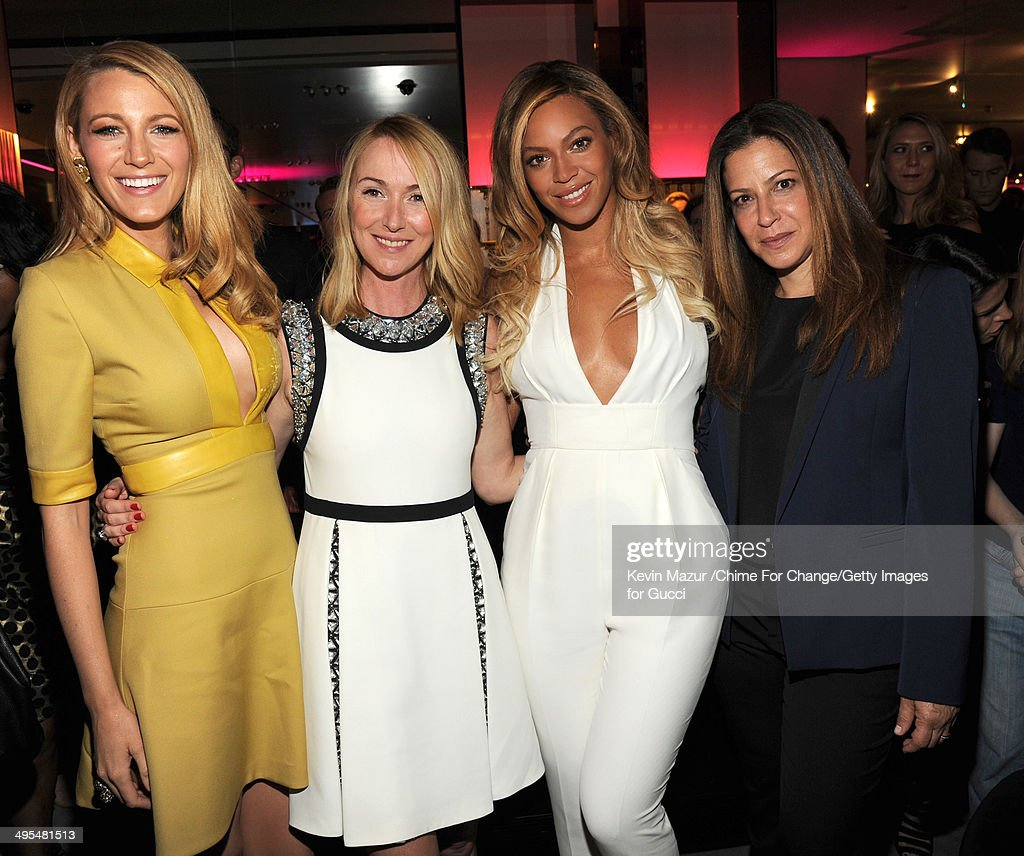 Blake Lively, Gucci Creative Director Frida Giannini, Beyonce and T Magazine Editor-In-Chief Deborah Needleman attend the CHIME FOR CHANGE One-Year Anniversary Event hosted by Gucci Creative Director Frida Giannini and T Magazine Editor-In-Chief Deborah Needleman at Gucci Fifth Avenue on June 3, 2014 in New York City.