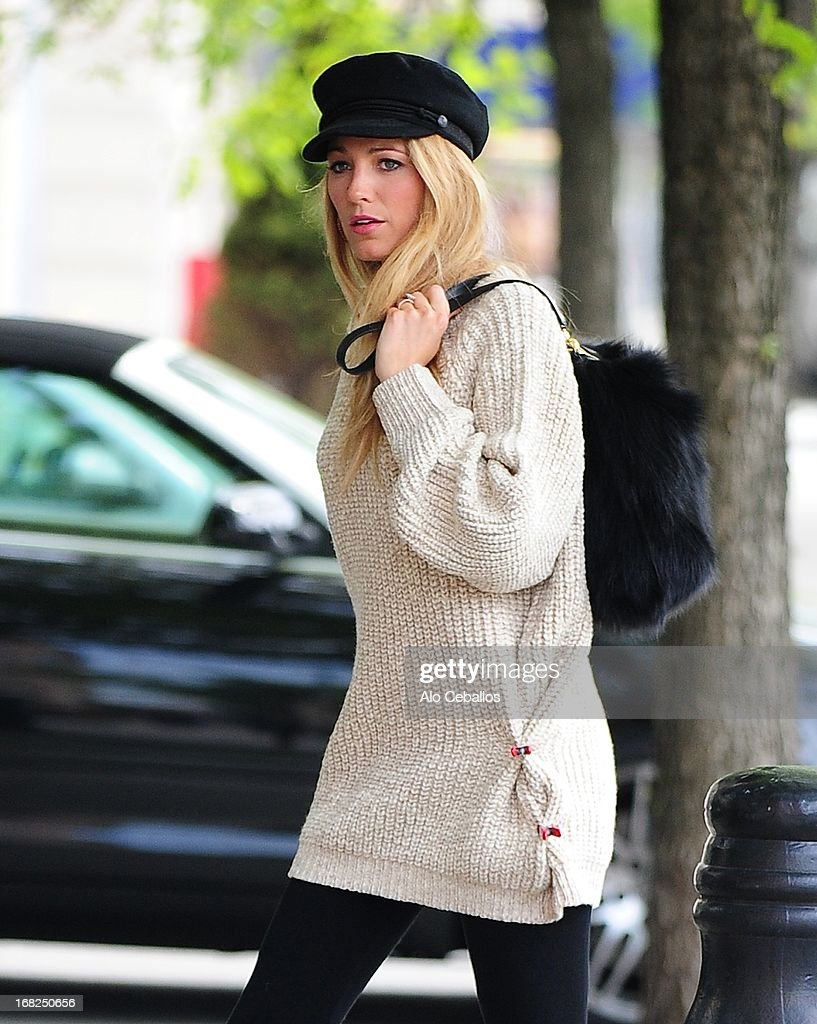 <a gi-track='captionPersonalityLinkClicked' href=/galleries/search?phrase=Blake+Lively&family=editorial&specificpeople=221673 ng-click='$event.stopPropagation()'>Blake Lively</a> is seen doing a photo shoot in the West Village on May 7, 2013 in New York City.