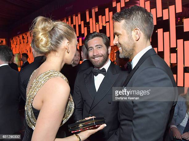 Blake Lively Jake Gyllenhaal and Ryan Reynolds attend The 2017 InStyle and Warner Bros 73rd Annual Golden Globe Awards PostParty at The Beverly...