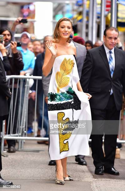 Blake Lively leaves ABC's 'Good Morning America' in Times Square on October 16 2017 in New York City