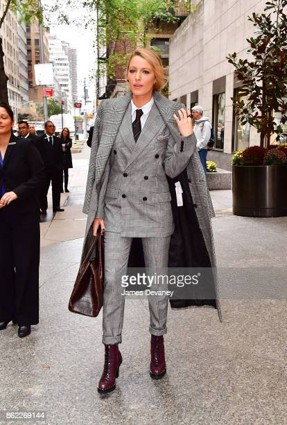 Blake Lively leaves the Four Seasons Hotel New York on October 16 2017 in New York City