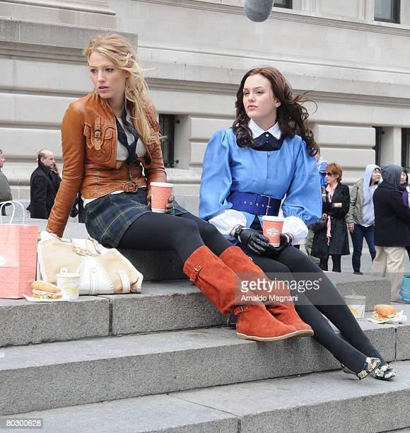 Blake Lively left and Leighton Meester of 'Gossip Girl' are seen filming on Fifth Avenue and 82nd Street March 18 2008 in New York City