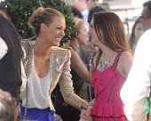 Blake Lively Leighton Meester are sighted on location for 'Gossip Girl' in Paris on July 8 2010 in Paris France
