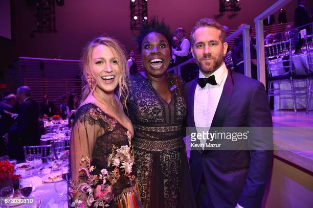 Blake Lively Leslie Jones and Ryan Reynolds attend 2017 Time 100 Gala at Jazz at Lincoln Center on April 25 2017 in New York City