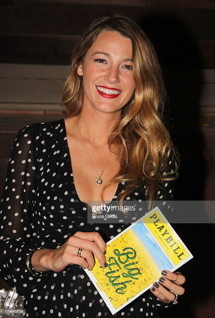 <a gi-track='captionPersonalityLinkClicked' href=/galleries/search?phrase=Blake+Lively&family=editorial&specificpeople=221673 ng-click='$event.stopPropagation()'>Blake Lively</a> poses backstage (as she and husband Ryan Reynolds celebrate their 1st wedding anniversary) at the musical 'Big Fish' on Broadway at The Neil Simon Theater on September 6, 2013 in New York City.