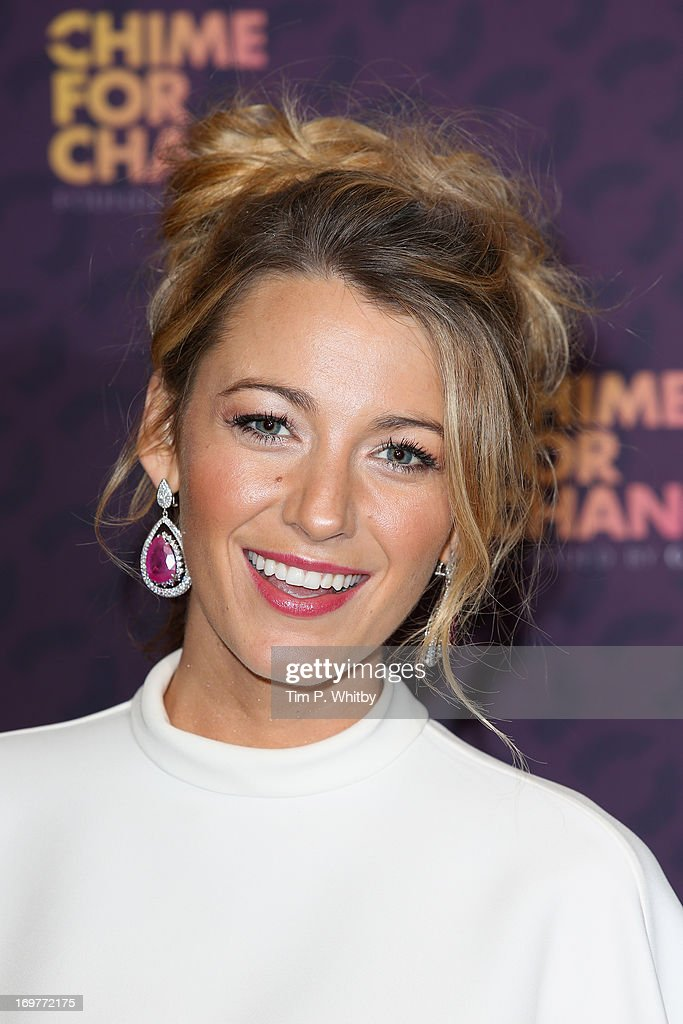 <a gi-track='captionPersonalityLinkClicked' href=/galleries/search?phrase=Blake+Lively&family=editorial&specificpeople=221673 ng-click='$event.stopPropagation()'>Blake Lively</a> poses backstage in the media room at the 'Chime For Change: The Sound Of Change Live' Concert at Twickenham Stadium on June 1, 2013 in London, England. Chime For Change is a global campaign for girls' and women's empowerment founded by Gucci with a founding committee comprised of Gucci Creative Director Frida Giannini, Salma Hayek Pinault and Beyonce Knowles-Carter.