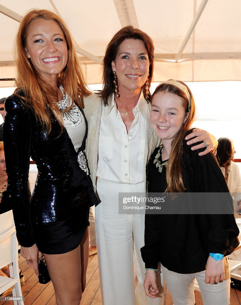 <a gi-track='captionPersonalityLinkClicked' href=/galleries/search?phrase=Blake+Lively&family=editorial&specificpeople=221673 ng-click='$event.stopPropagation()'>Blake Lively</a> (L), Princess Caroline of Hanover and <a gi-track='captionPersonalityLinkClicked' href=/galleries/search?phrase=Princess+Alexandra+of+Hanover&family=editorial&specificpeople=767610 ng-click='$event.stopPropagation()'>Princess Alexandra of Hanover</a> (R) during the Chanel Collection Croisiere Show 2011-12 at the Hotel du Cap on May 9, 2011 in Cap d'Antibes, France.