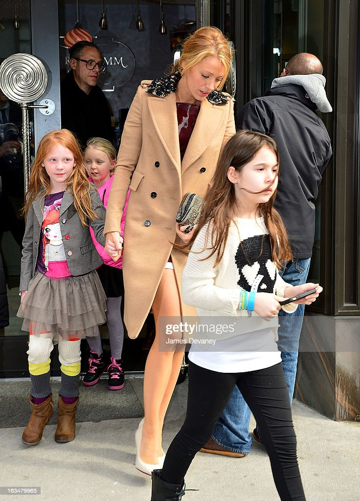 <a gi-track='captionPersonalityLinkClicked' href=/galleries/search?phrase=Blake+Lively&family=editorial&specificpeople=221673 ng-click='$event.stopPropagation()'>Blake Lively</a> seen leaving Sugar And Plumm on March 10, 2013 in New York City.
