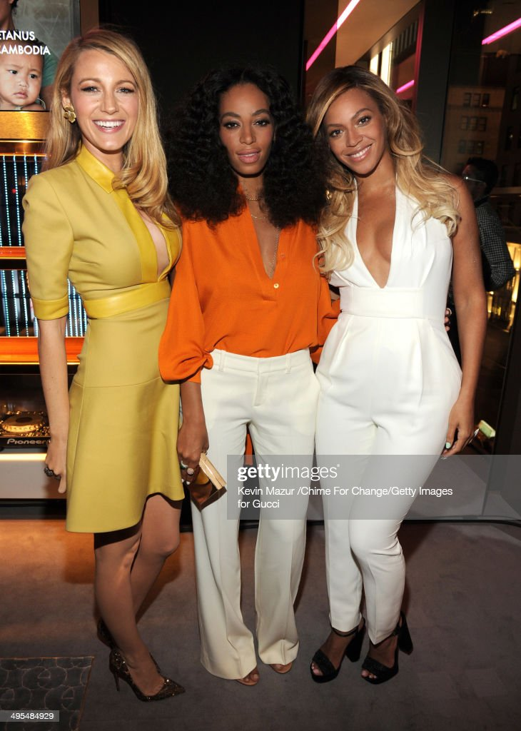 <a gi-track='captionPersonalityLinkClicked' href=/galleries/search?phrase=Blake+Lively&family=editorial&specificpeople=221673 ng-click='$event.stopPropagation()'>Blake Lively</a>, Solange and Beyonce attend the CHIME FOR CHANGE One-Year Anniversary Event hosted by Gucci Creative Director Frida Giannini and T Magazine Editor-In-Chief Deborah Needleman at Gucci Fifth Avenue on June 3, 2014 in New York City.