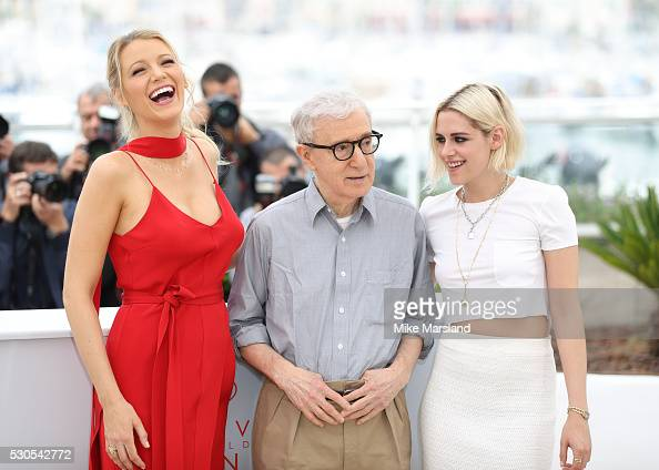 Blake Lively Woody Allen and Kristen Stewart attend the 'Cafe Society' Photocall during The 69th Annual Cannes Film Festival on May 11 2016 in Cannes...