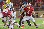 Blake Martinez of the Stanford Cardinal plays in a PAC12 football game against the UCLA Bruins on October 15 2015 at Stanford Stadium on the campus...