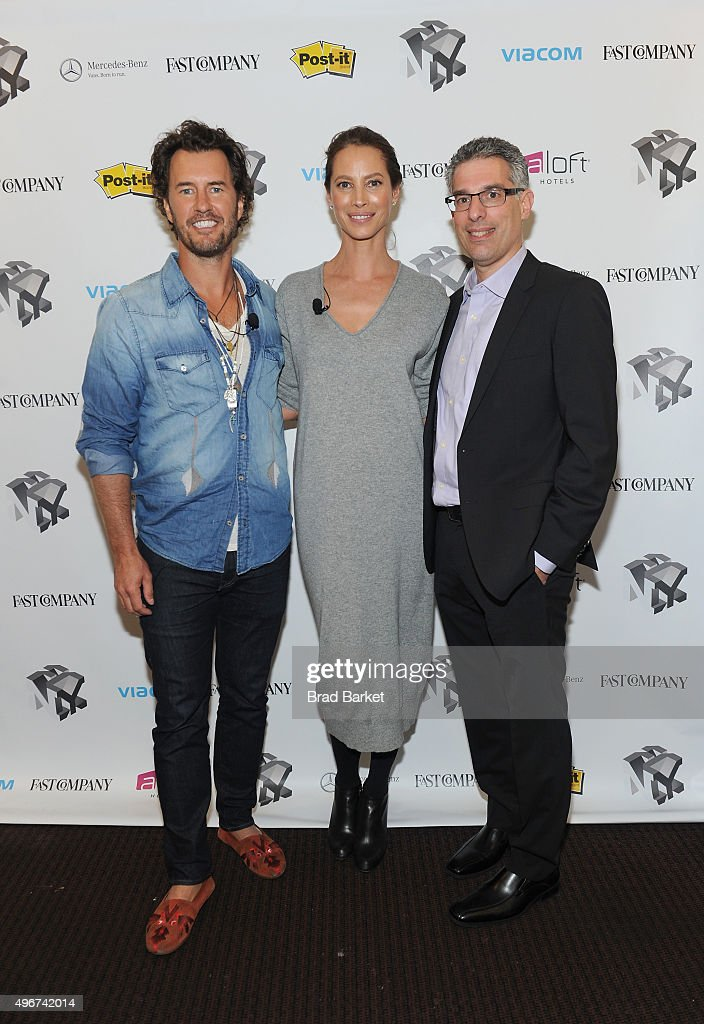 Blake Mycoskie, Christy Turlington Burns and Robert Safian appear during The Fast Company Innovation Festival presentation of 'The Creativity Of Giving: TOMS Founder Blake Mycoskie and Social Entrepreneur Christy Turlington Burns On How Giving Makes For Better Business' on November 11, 2015 in New York City.