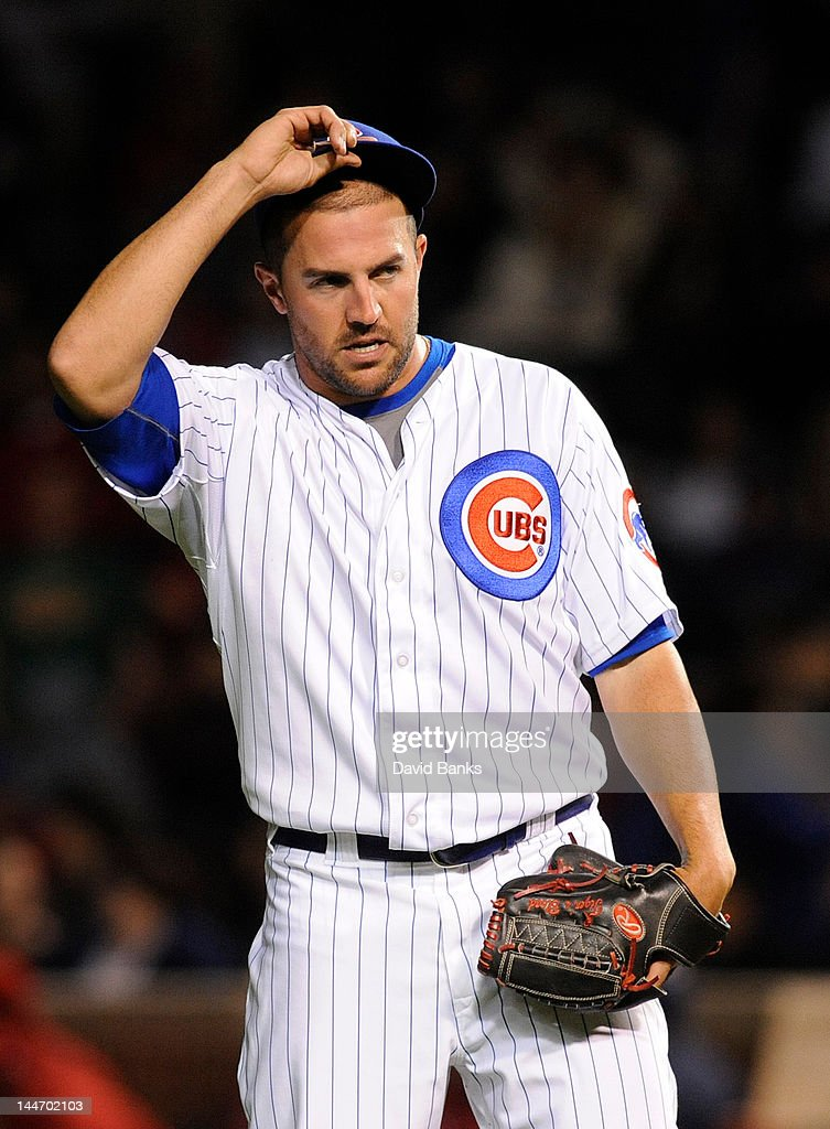 Blake Parker #55 of the Chicago Cubs reacts after giving up two runs in the eighth inning against the Philadelphia Phillies on May 17, 2012 at Wrigley Field in Chicago, Illinois.