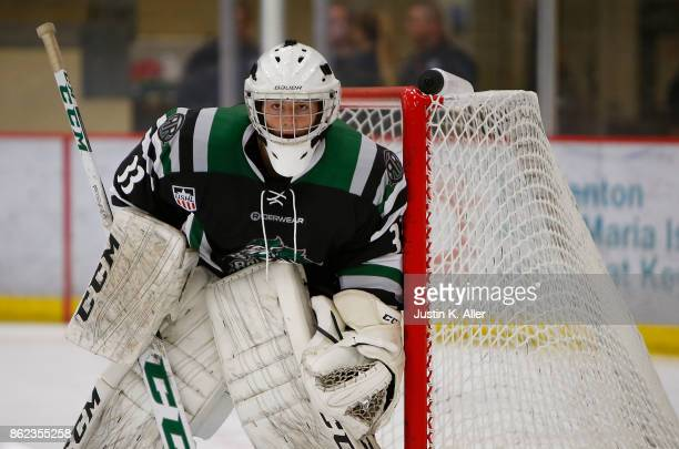 Blake Pietila of the Cedar Rapids RoughRiders tends net during the game against the Sioux Falls Stampede on Day 2 of the USHL Fall Classic at UPMC...