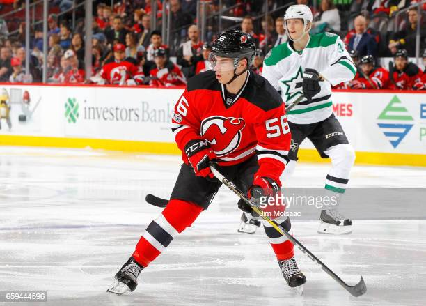 Blake Pietila of the New Jersey Devils in action against the Dallas Stars on March 26 2017 at Prudential Center in Newark New Jersey The Stars...