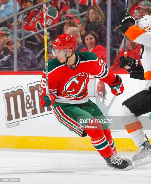 Blake Pietila of the New Jersey Devils in action against the Philadelphia Flyers on March 16 2017 at Prudential Center in Newark New Jersey The...
