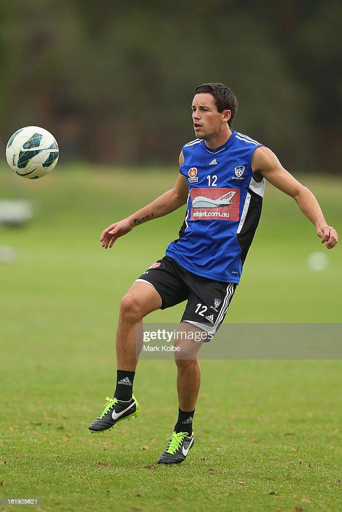 Blake Powell kicks during a Sydney FC A-League training session at Macquarie Uni on February 18, 2013 in Sydney, Australia.