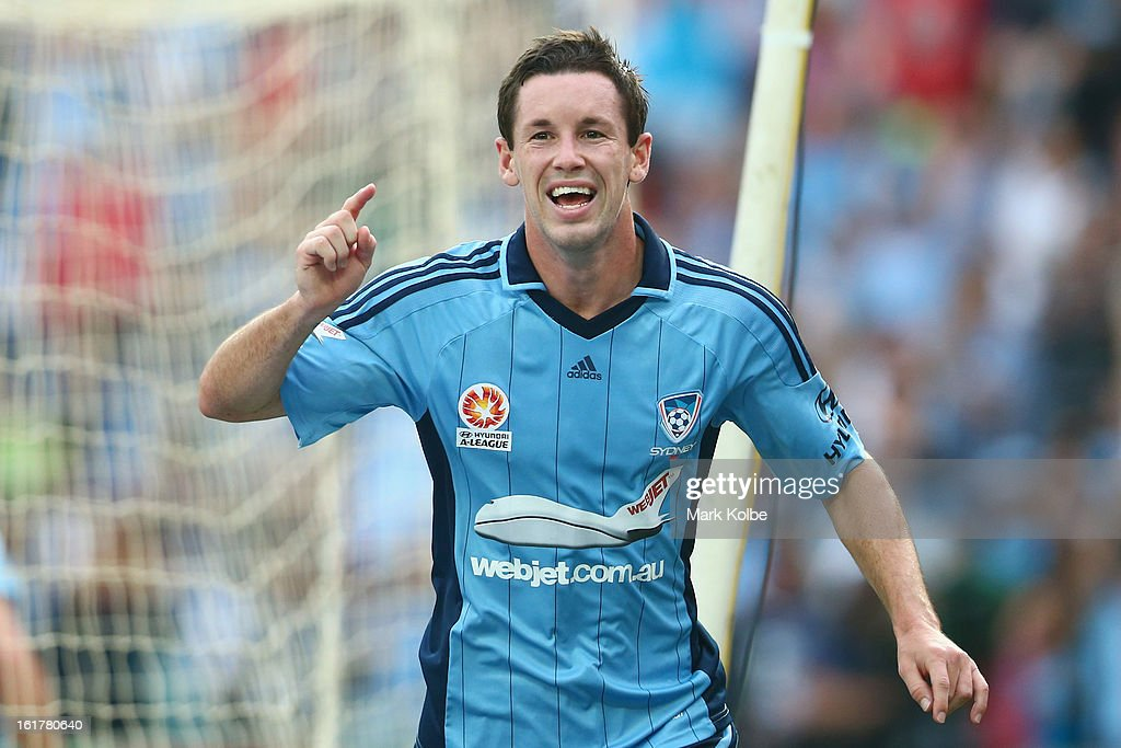 Blake Powell of Sydney FC celebrates scoring a goal during the round 21 A-League match between Sydney FC and Adelaide United at Allianz Stadium on February 16, 2013 in Sydney, Australia.