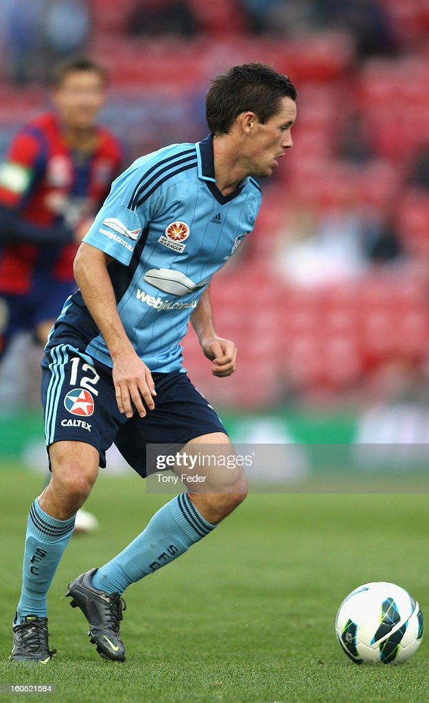 Blake Powell of Sydney looks to pass the ball during the round 19 A-League match between the Newcastle Jets and Sydney FC at Hunter Stadium on February 2, 2013 in Newcastle, Australia.