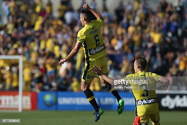 Blake Powell of the Mariners celebrates a goal during the round nine ALeague match between Central Coast Mariners and the Western Sydney Wanderers at...