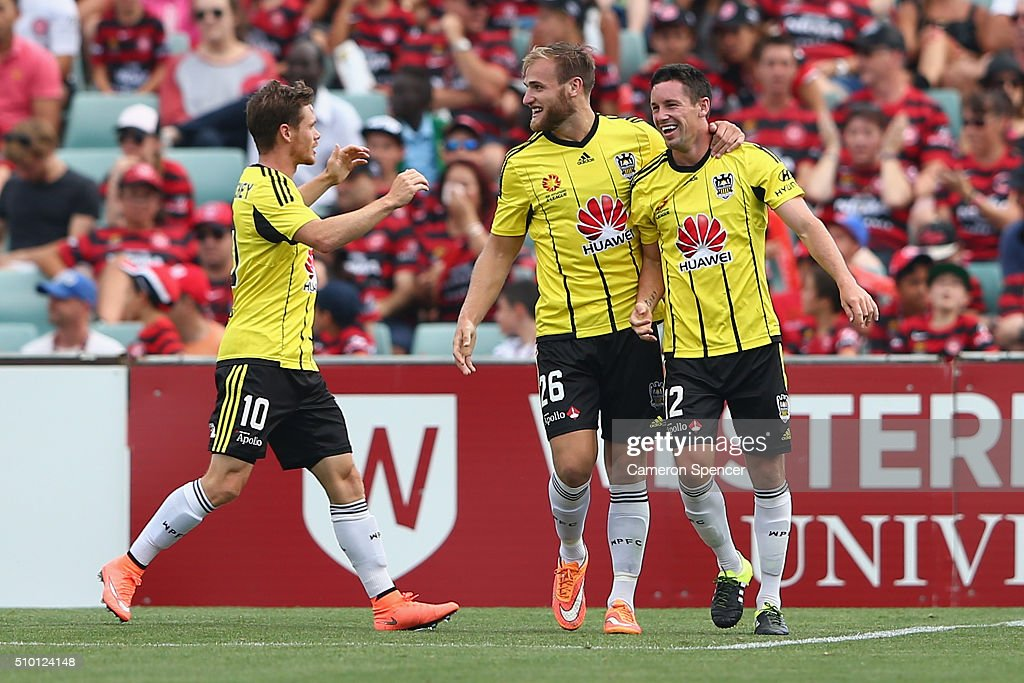 Blake Powell of the Phoenix celebrates scoring a goal during the round 19 A-League match between the Western Sydney Wanderers and the Wellington Phoenix at Pirtek Stadium on February 14, 2016 in Sydney, Australia.