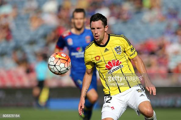 Blake Powell of the Phoenix in action during the round 15 ALeague match between the Newcastle Jets and the Wellington Phoenix at Hunter Stadium on...