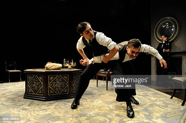Blake Ritson as Wyndham Brandon Henry LloydHughes as Kenneth Raglan and Bertie Carvel as Rupert Cadell in the production of Patrick Hamilton's 'Rope'...